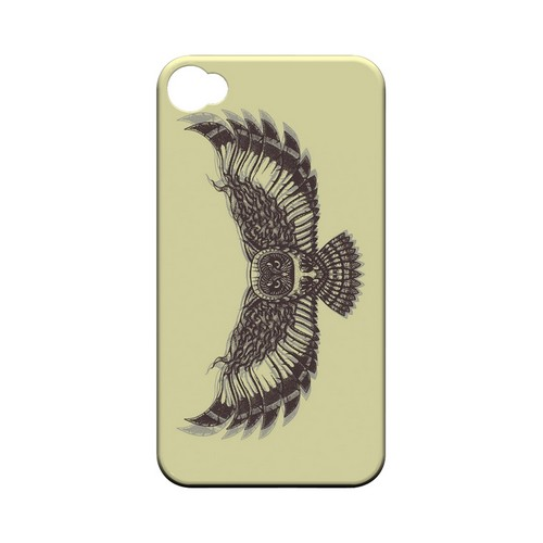 Flying Owl on Yellow - Geeks Designer Line Tattoo Series Matte Case for Apple iPhone 4/4S