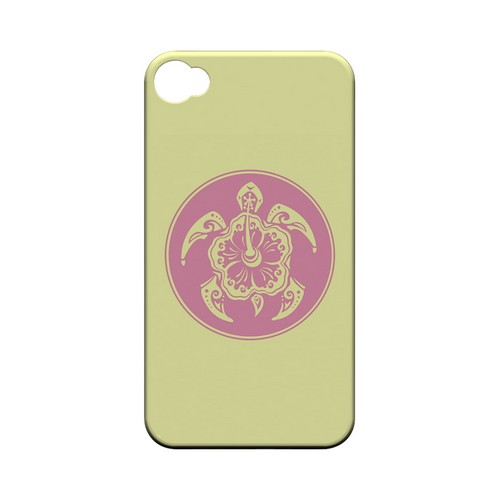 Pink Island Turtle Solo on Yellow - Geeks Designer Line Tattoo Series Matte Case for Apple iPhone 4/4S