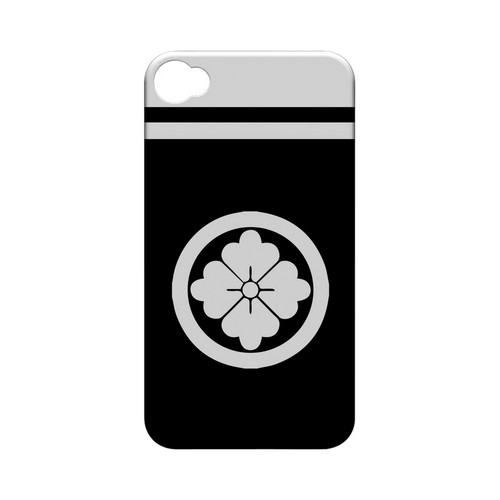 White Hanabishi Kamon w/ Stripe - Geeks Designer Line Tattoo Series Matte Case for Apple iPhone 4/4S