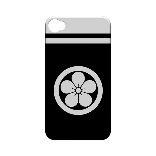 White Umebachi Kamon w/ Stripe v.3 - Geeks Designer Line Tattoo Series Hard Case for Apple iPhone 4/4S