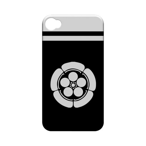 White Umebachi Kamon w/ Stripe v.4 - Geeks Designer Line Tattoo Series Hard Case for Apple iPhone 4/4S