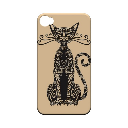 Kitty Nouveau on Peach - Geeks Designer Line Tattoo Series Hard Case for Apple iPhone 4/4S