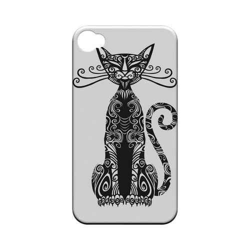 Kitty Nouveau on White - Geeks Designer Line Tattoo Series Hard Case for Apple iPhone 4/4S