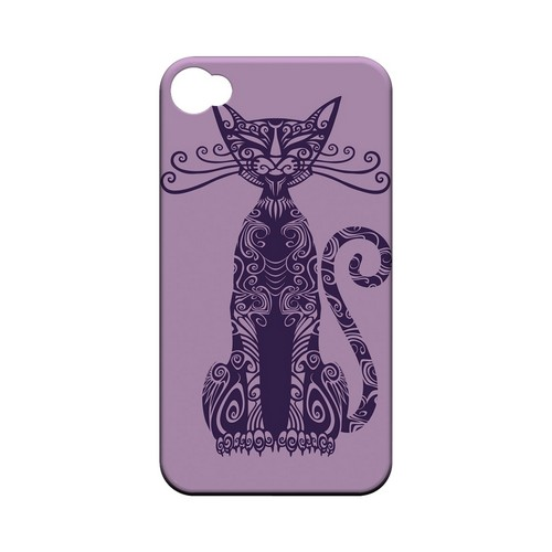 Kitty Nouveau on Purple - Geeks Designer Line Tattoo Series Hard Case for Apple iPhone 4/4S