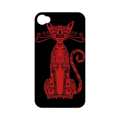 Red Kitty Nouveau on Black - Geeks Designer Line Tattoo Series Hard Case for Apple iPhone 4/4S