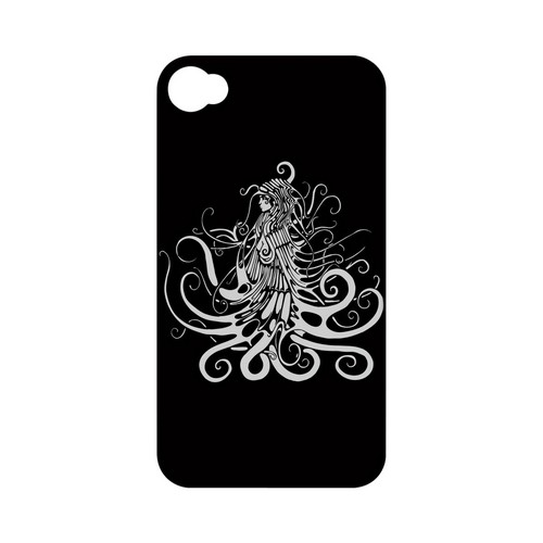 White Medusa on Black - Geeks Designer Line Tattoo Series Hard Case for Apple iPhone 4/4S