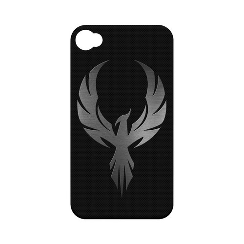 Phoenix Metal on Dark Gray Texture - Geeks Designer Line Tattoo Series Hard Case for Apple iPhone 4/4S