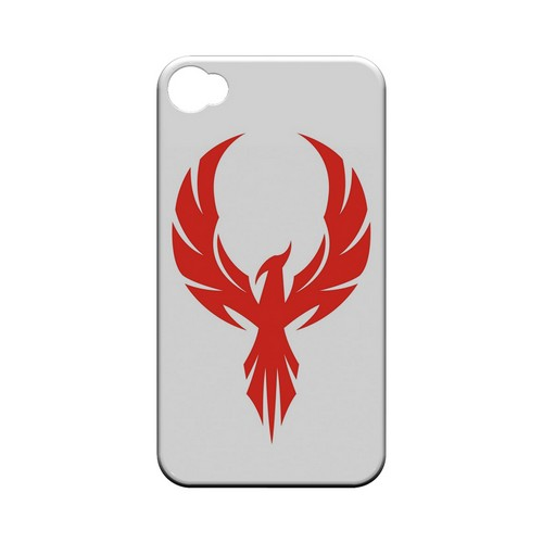 Phoenix Red on White - Geeks Designer Line Tattoo Series Hard Case for Apple iPhone 4/4S