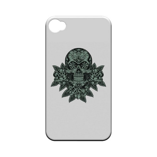 Skull Roses Aqua - Geeks Designer Line Tattoo Series Hard Case for Apple iPhone 4/4S