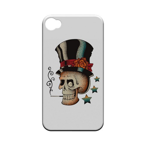 Smoking Skull on White - Geeks Designer Line Tattoo Series Hard Case for Apple iPhone 4/4S