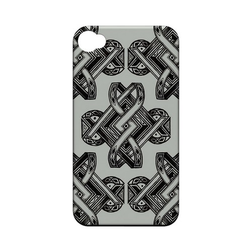 Tribal Art on Gray - Geeks Designer Line Tattoo Series Hard Case for Apple iPhone 4/4S