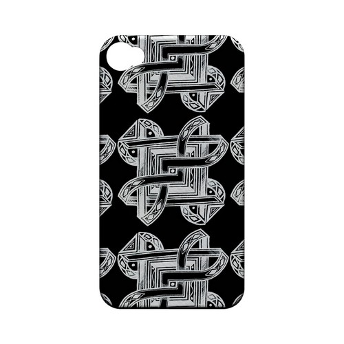 Tribal Art Pattern on Black - Geeks Designer Line Tattoo Series Hard Case for Apple iPhone 4/4S