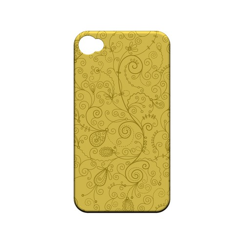 Floral 1 Lemon Zest - Geeks Designer Line Pantone Color Series Matte Case for Apple iPhone 4/4S