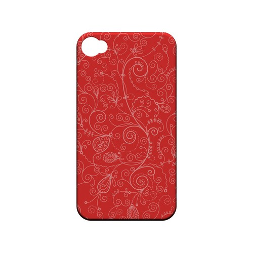 Floral 1 Poppy Red - Geeks Designer Line Pantone Color Series Matte Case for Apple iPhone 4/4S