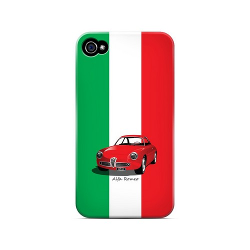 Red Alfa Romeo on Green/ White/ Red - Geeks Designer Line Auto Series Matte Case for Apple iPhone 4/4S