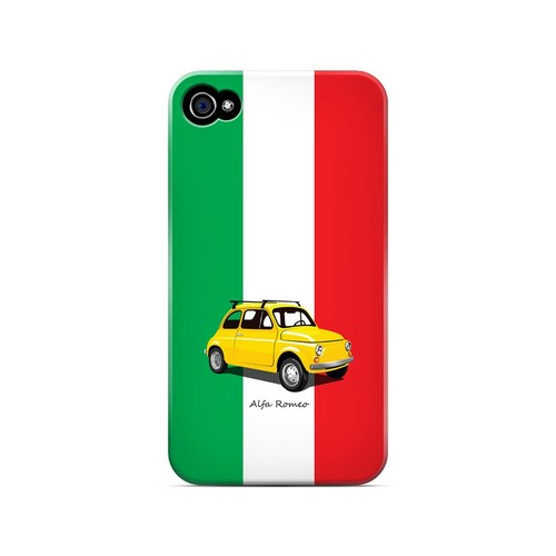 Yellow Alfa Romeo on Green/ White/ Red - Geeks Designer Line Auto Series Matte Case for Apple iPhone 4/4S
