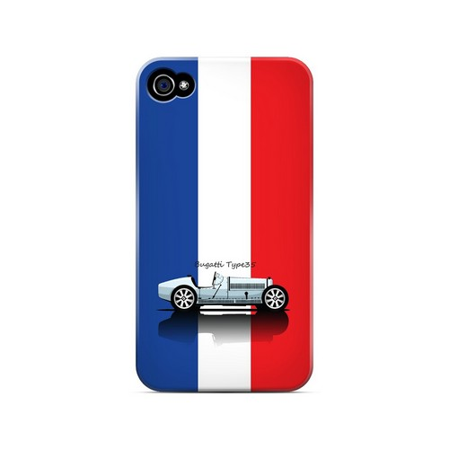 Bugatti Type 35S on Blue/ White/ Red - Geeks Designer Line Auto Series Matte Case for Apple iPhone 4/4S