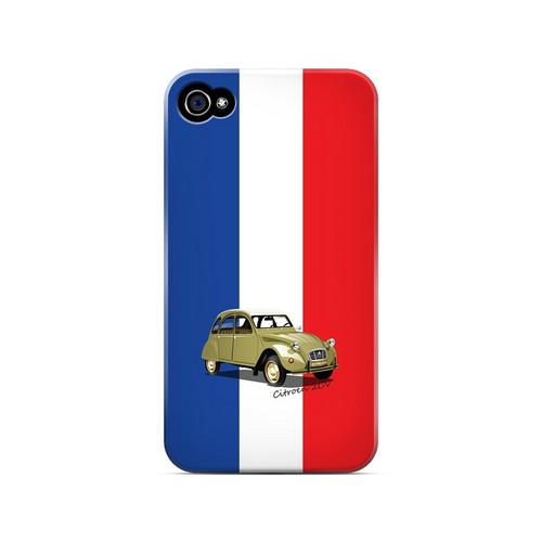 Citroen 2CV on Blue/ White/ Red - Geeks Designer Line Auto Series Matte Case for Apple iPhone 4/4S