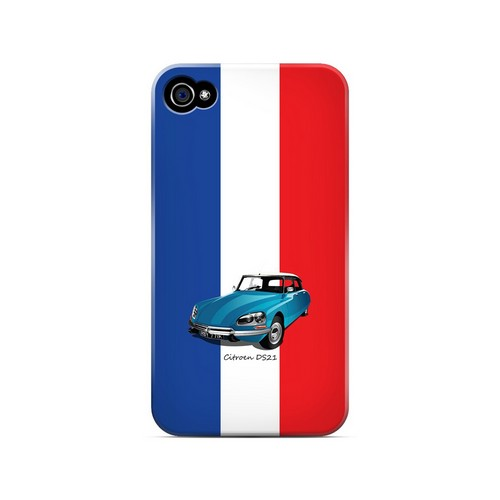 Citroen DS21 on Blue/ White/ Red - Geeks Designer Line Auto Series Matte Case for Apple iPhone 4/4S