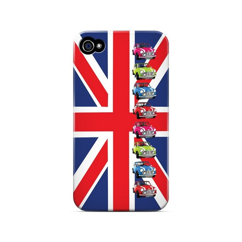 Multi Mini Coopers on Union Jack - Geeks Designer Line Auto Series Matte Case for Apple iPhone 4/4S