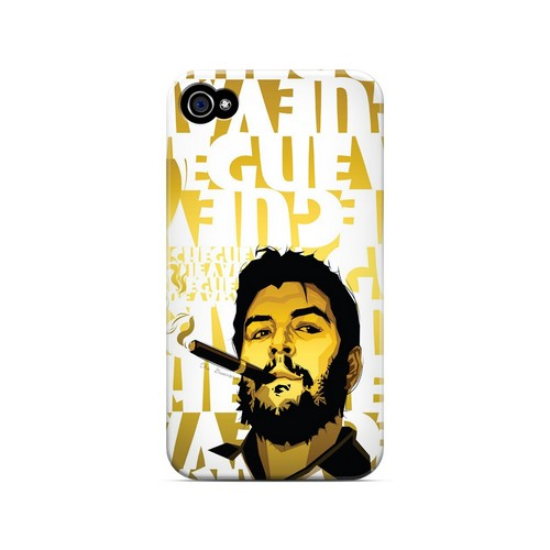 Che Guevara Smoke White Letters on Gold - Geeks Designer Line Revolutionary Series Matte Case for Apple iPhone 4/4S