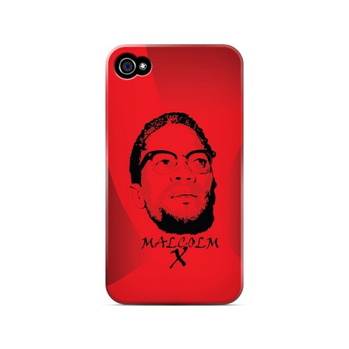 Malcolm X in the Middle on Red - Geeks Designer Line Revolutionary Series Matte Case for Apple iPhone 4/4S