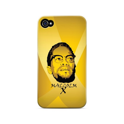 Malcolm X in the Middle on Yellow - Geeks Designer Line Revolutionary Series Matte Case for Apple iPhone 4/4S