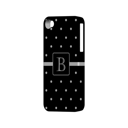 B on Classic Mini Polka Dots - Geeks Designer Line Monogram Series Matte Case for Apple iPhone 4/4S