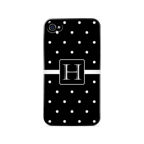 H on Classic Mini Polka Dots - Geeks Designer Line Monogram Series Matte Case for Apple iPhone 4/4S
