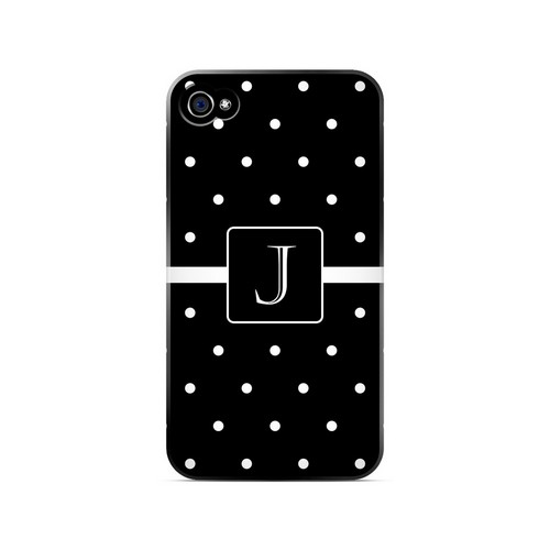 J on Classic Mini Polka Dots - Geeks Designer Line Monogram Series Matte Case for Apple iPhone 4/4S