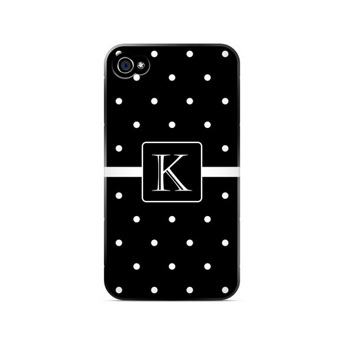 K on Classic Mini Polka Dots - Geeks Designer Line Monogram Series Matte Case for Apple iPhone 4/4S