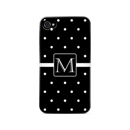 M on Classic Mini Polka Dots - Geeks Designer Line Monogram Series Matte Case for Apple iPhone 4/4S