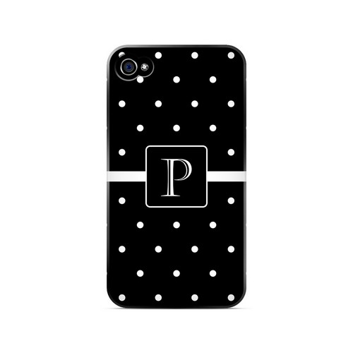 P on Classic Mini Polka Dots - Geeks Designer Line Monogram Series Matte Case for Apple iPhone 4/4S