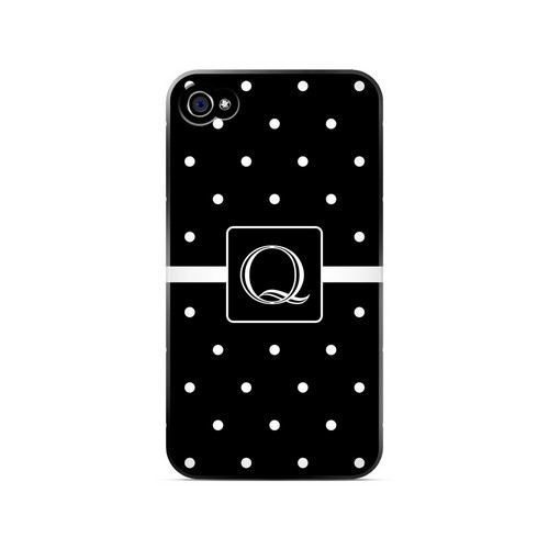 Q on Classic Mini Polka Dots - Geeks Designer Line Monogram Series Matte Case for Apple iPhone 4/4S