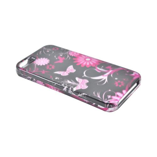 Apple iPhone SE / 5 / 5S Hard Case,  [Pink Flowers & Butterflies on Black]  Slim & Protective Crystal Glossy Snap-on Hard Polycarbonate Plastic Case Cover