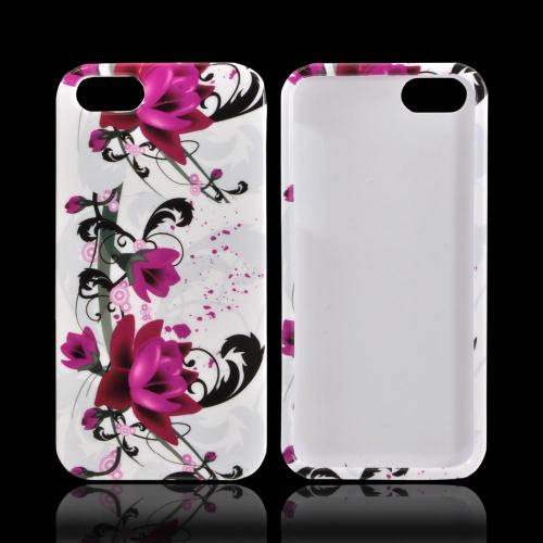 Apple iPhone SE / 5 / 5S Hard Case,  [Magenta Flowers & Black Vines on White]  Slim & Protective Crystal Glossy Snap-on Hard Polycarbonate Plastic Case Cover