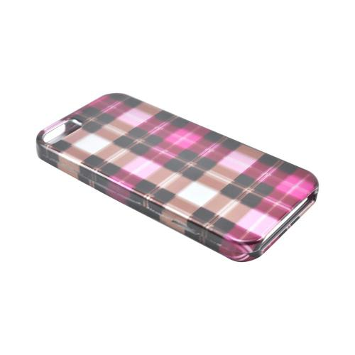 Apple iPhone SE / 5 / 5S Hard Case,  [Plaid Pattern of Pink/Brown/Gray]  Slim & Protective Crystal Glossy Snap-on Hard Polycarbonate Plastic Case Cover