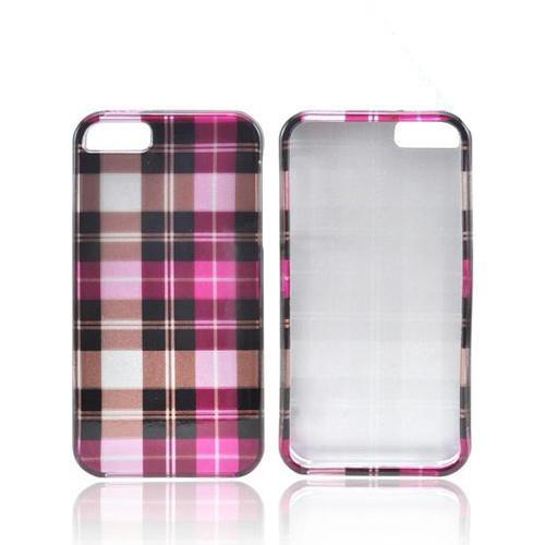 Apple iPhone 5/5S Hard Case - Plaid Pattern of Pink/Brown/Gray
