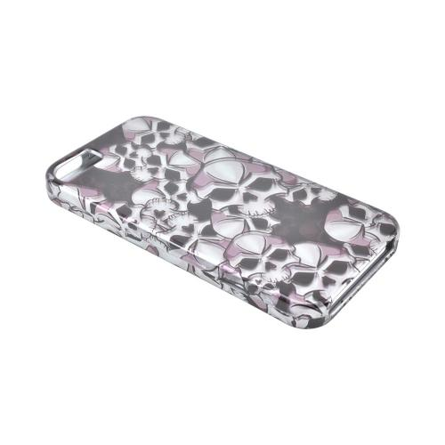 Apple iPhone SE / 5 / 5S Hard Case,  [Silver Skulls on Black]  Slim & Protective Crystal Glossy Snap-on Hard Polycarbonate Plastic Case Cover