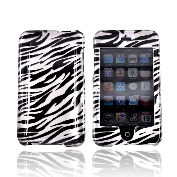 Apple iPod Touch 2 & 3 Hard Case - Silver/Black Zebra