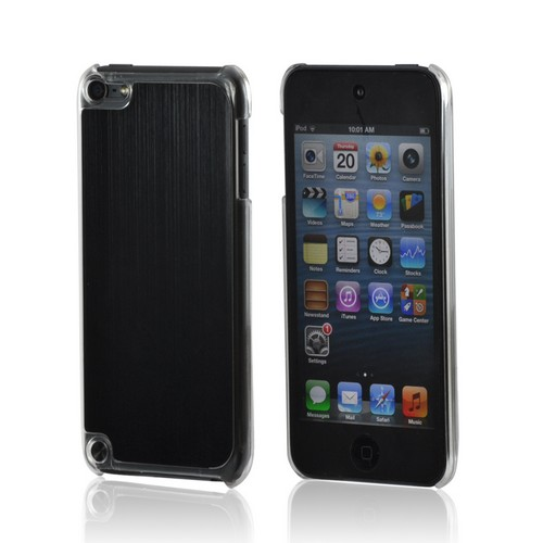 Clear Hard Case w/ Black Aluminum Back for Apple iPod Touch 5