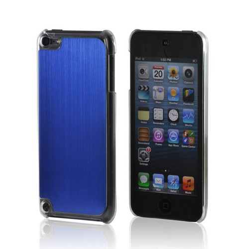 Clear Hard Case w/ Blue Aluminum Back for Apple iPod Touch 5