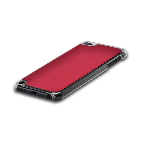 Clear Hard Case w/ Red Aluminum Back for Apple iPod Touch 5