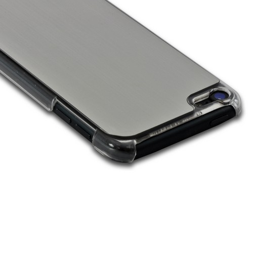 Clear Hard Case w/ Silver Aluminum Back for Apple iPod Touch 5