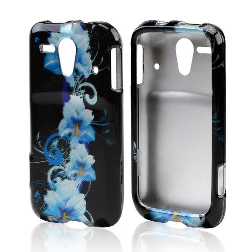 Blue Flowers on Black Hard Case for Kyocera Hydro Edge