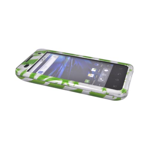 T-Mobile G2X Hard Case - Green Zebra & Stars on Silver