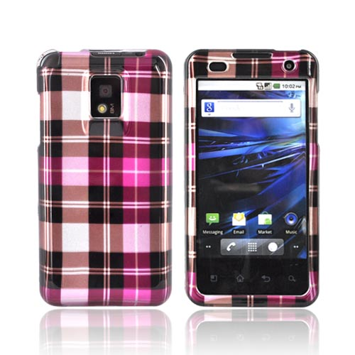T-Mobile G2X Hard Case - Pink/ Hot Pink/ Brown Plaid on Silver