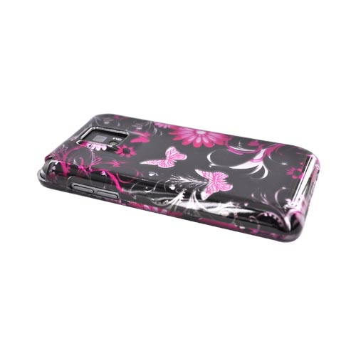 T-Mobile G2X Hard Case - Pink Butterflies & Flowers on Silver