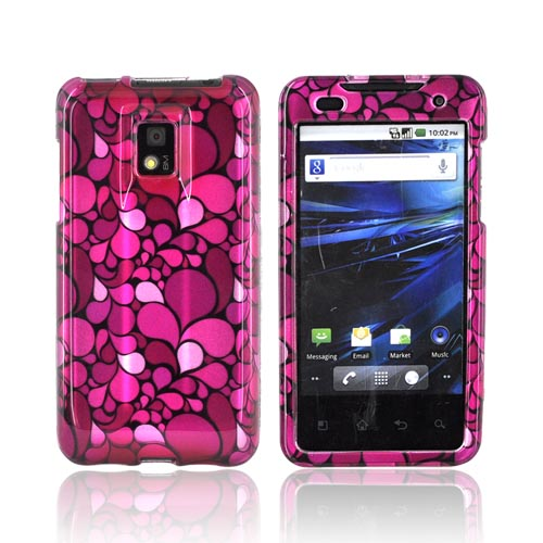 T-Mobile G2X Hard Case - Hot Pink/ Pink/ Magenta Flower Petals