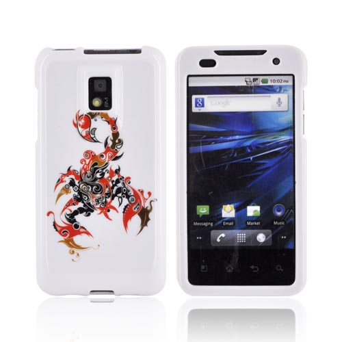 T-Mobile G2X Hard Case - Red/ Black Scorpion on White